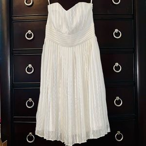 NWOT White House Black Market White Pleated Dress